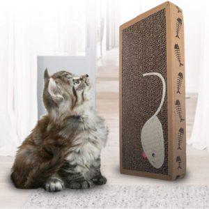 Tiragraffi per Gatto con Canapa Naturale e Cartone Denso, con Sacchetto di Erba gatta in Regalo